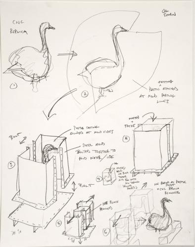 "Untitled (Oil Swan Preliminary Process Drawing). 2010. Pencil. 14 x 11"". Darrin Hallowell"
