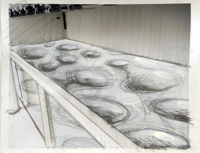 """Untitled (Give and Take Preliminary Drawing- View Above). 2010. gouache and pencil on ink jet print. 8½ x 11"""". Darrin Hallowell"""