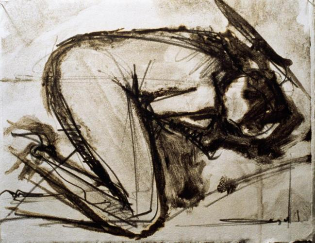 Untitled (Preliminary Drawing For Curled Figure #1, Monotype) 2000. 8 x 10