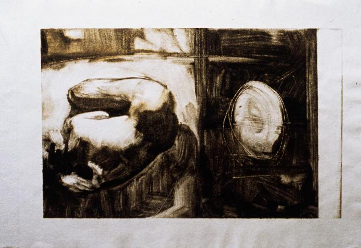 Untitled (Figure with Object, Monotype) 1999. 9 x 12