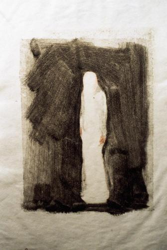Untitled (Preliminary Drawing For Shrouded Figure, Monotype) 1999. 9 x 12