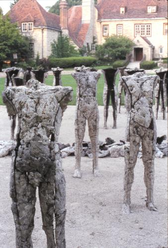 Two Are Halves of One. 2001. Ceramic and stainless steel. Dimensions variable. Detail view east. Darrin Hallowell