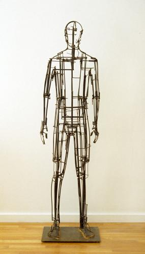 Basis. 2005. Stainless steel and steel. accompanied by time lapse and hand held video. 72 x 20 x 13