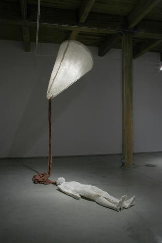 Ariadne's Clew. 2007. Muslin, resin, thread, iron oxide, stainless steel. 108 x 73 x 108