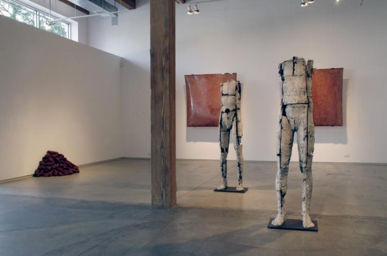 Ariadne's Clew. 2007. View to front of McCormick gallery. Untitled figures, Bloom II & III, Self Portrait Chauvet. Darrin Hallowell