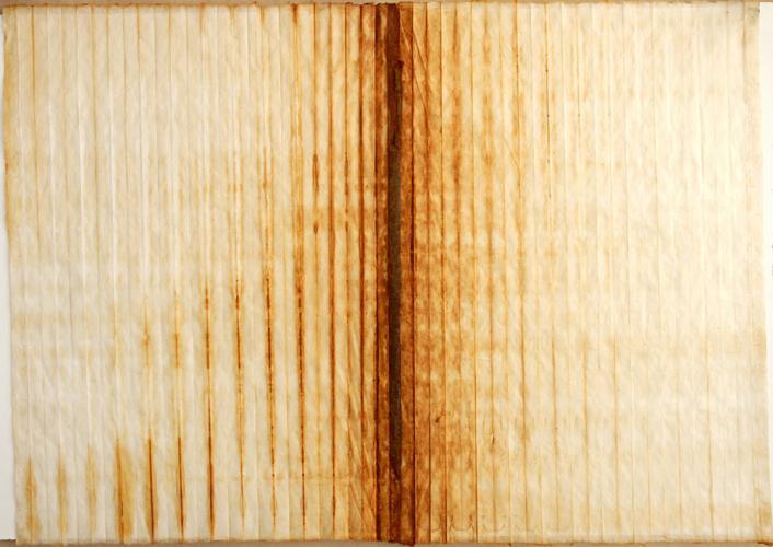 Untitled (Gathering I). 2010. Iron oxide on rice paper. 27 x 40