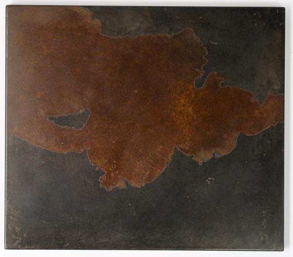 Darrin Hallowell, Untitled (Deltas 3). 2014. Oxidized steel, Paintings Prints & Drawings, Iron Prints, Actuation - Conversion, Sculpture