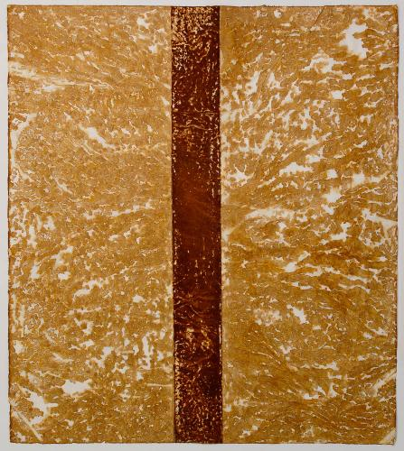 Red Line, Darrin Hallowell, Iron oxide on rice paper, 2014