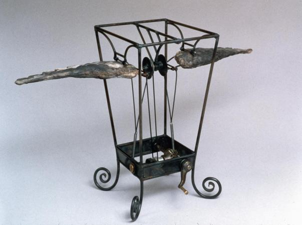 """Kinetic Toy with Wings. 1997. Ceramic, steel. 15x13x10"""". Darrin Hallowell"""