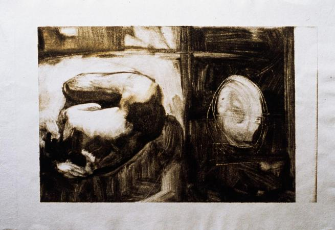 """Untitled (Figure with Object, Monotype) 1999. 9 x 12"""". Darrin Hallowell"""