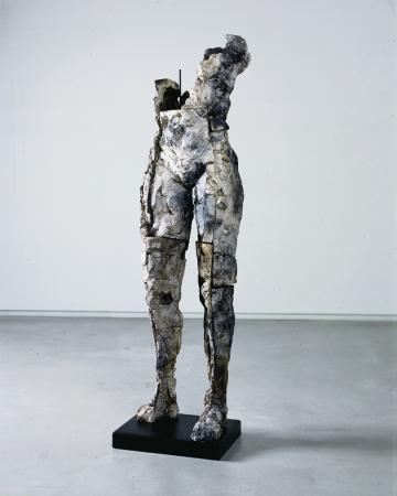 """Lineage. 1999. Ceramic, stainless steel and steel. 60 x 17 x 13"""". Darrin Hallowell"""