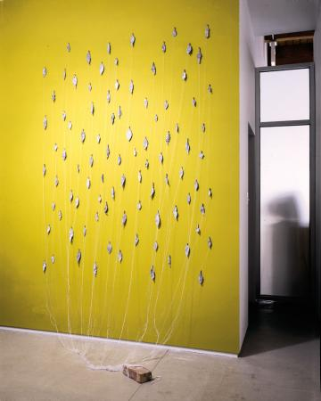 Fall. 2000. Bronze, thread and brick. Dimensions variable. Darrin Hallowell