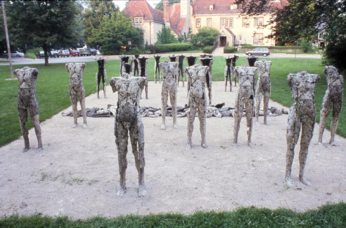 Two Are Halves of One. 2001. ceramic and stainless steel. Dimensions variable. View to east. Darrin Hallowell