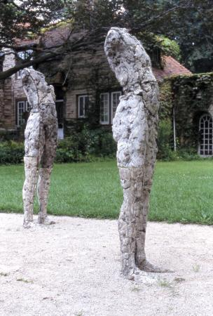 Two Are Halves of One. 2001. Ceramic and stainless steel. Dimensions variable. Detail view figures side. Darrin Hallowell