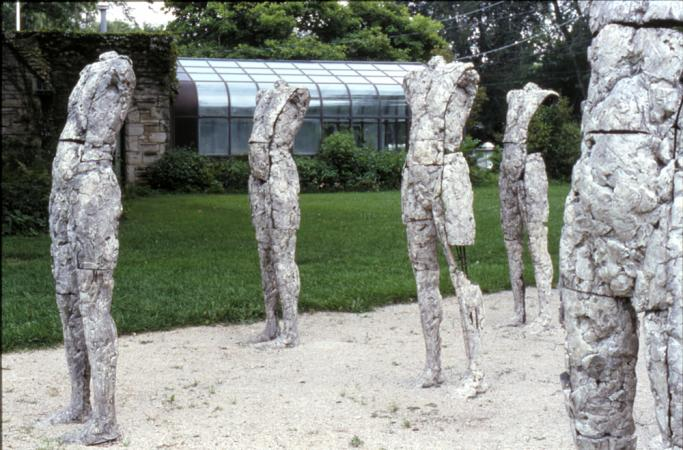 Two Are Halves of One. 2001. Ceramic and stainless steel. Dimensions variable. Detail view south west. Darrin Hallowell