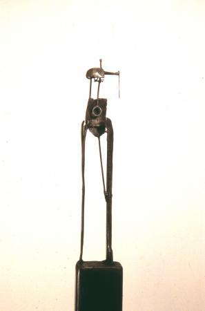"Bulwark 3. 2002. Steel.  65 x 11 x 8"". View back. Darrin Hallowell"
