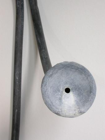 "Split Funnel. 2003. Copper. 38 x 19 x 10"". Detail. Darrin Hallowell"