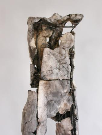 "Untitled Figure. 2004. Ceramic, stainless steel. 59 x 15 x 13"".Detail. Darrin Hallowell"