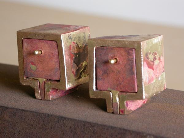 "Vestige (What You Will Leave). 2007. Bronze. 2x4x7"". Welded boxes. Darrin Hallowell"