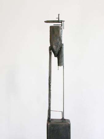 "Bulwark 7D1. 2005. Steel. 65 x 10 x 9"". Detail front. Darrin Hallowell"