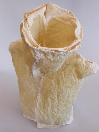 "Nourish. 2005. Linen, resin and thread. 20 x 12 x 6"". Detail. Darrin Hallowell"