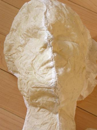 "Nourish. 2005. Linen, resin and thread. 20 x 12 x 6"". Process Image. Stitches. Darrin Hallowell"