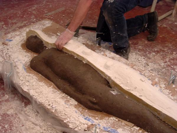 Primary Vessels. 2005. Process Image 3. Removing mold from modeled figure