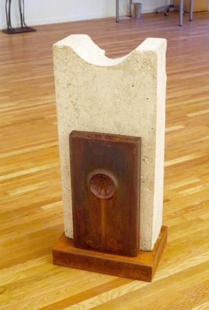 "Recall. 2005. Concrete, steel. 42 x 19 x 16"". Darrin Hallowell"