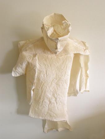 "Waiting. 2007. Muslin, resin, thread. 26 x 16 x 8"". Darrin Hallowell"
