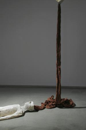 """Ariadne's Clew. 2007. Muslin, resin, thread, iron oxide, stainless steel. 108 x 73 x 108"""" (dimensions variable). Detail 2. Darrin Hallowell"""