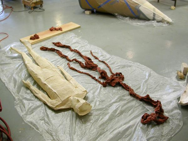 "Ariadne's Clew. 2007. Muslin, resin, thread, iron oxide, stainless steel. 108 x 73 x 108"" (dimensions variable). Iron oxide soaked muslin ready to insert in completed figure. Darrin Hallowell"