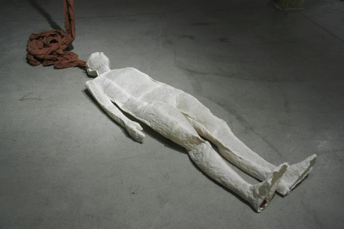 """Ariadne's Clew. 2007. Muslin, resin, thread, iron oxide, stainless steel. 108 x 73 x 108"""" (dimensions variable). Detail 1. Darrin Hallowell"""