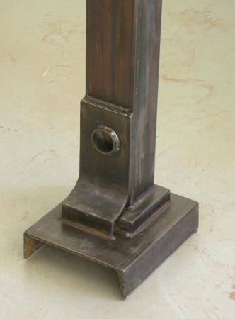 "Bulwark Cycle. 2007. Steel. 70 x 11 x 8"". Detail 2. Darrin Hallowell"