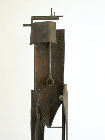 "Bulwark Cycle. 2007. Steel. 70 x 11 x 8"". back view. Darrin Hallowell"