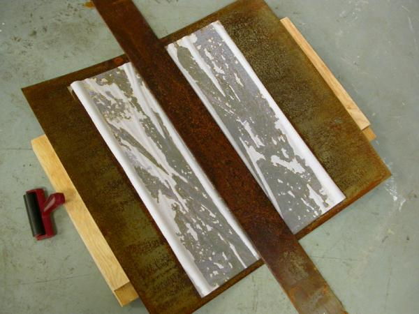 Untitled (Path). 2009. Process image. Paper shown between two steel plates in the process of rusting