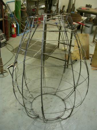 "Open Vessel. 2009. Bronze. 55 x 37 x 37"". Starting mold (Open Vessel Trace). Darrin Hallowell"