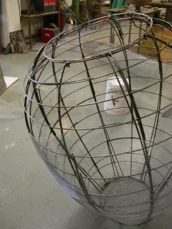 """Open Vessel. 2009. Bronze. 55 x 37 x 37"""". Assembling mold (Open Vessel Trace). Darrin Hallowell"""