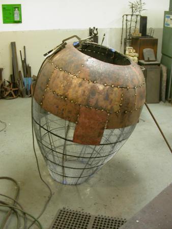 "Open Vessel. 2009. Bronze. 55 x 37 x 37"". Welding forms. Darrin Hallowell"