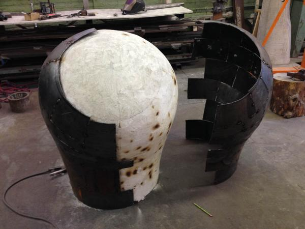 Open Vessel (Intake), Darrin Hallowell, 2014, In progress - Corten Steel over plaster form