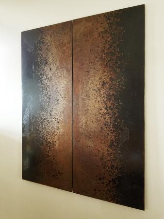 Darrin Hallowell, Iron Bloom Reverse, Vertical Orientation, Iron Oxide, Oxidized Steel, Sculpture,