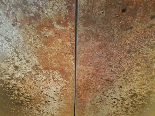 Darrin Hallowell, Iron Bloom Reverse, Detail, Iron Oxide, sculpture, oxidized  steel