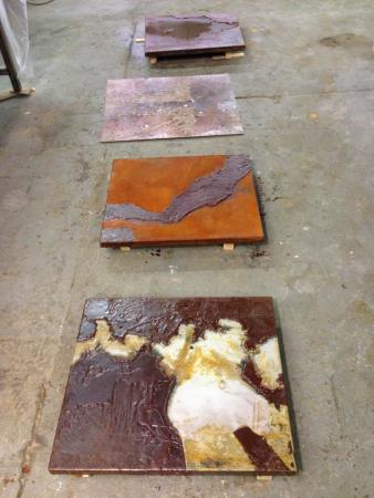 Oxidizing steel plates, 2014, Darrin Hallowell, Process image