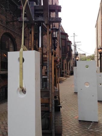 Points of Influence. 2014. Concrete. Dimensions Variable. Process Image 21. Oak Park Sculpture Walk, Oak Park, Illinois. Darrin Hallowell