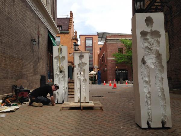 Points of Influence. 2014. Concrete. Dimensions Variable. Process Image 22. Oak Park Sculpture Walk, Oak Park, Illinois. Darrin Hallowell