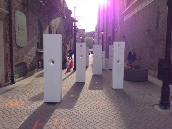 Points of Influence. 2014. Concrete. Dimensions Variable. Process Image 23. Oak Park Sculpture Walk, Oak Park, Illinois. Darrin Hallowell