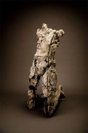"Yield Resist. 2000. Ceramic, stainless steel. 46.5 x 18 x 23"". Catalog image from INNOVATION AND CHANGE: Great Ceramics from the Arizona State University Art Museum Collection. Darrin Hallowell"