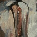 """Untitled (Linear #4). 1997. Oil. 9 x 5"""". Darrin Hallowell"""