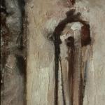 """Untitled (Linear #2). 1997. Oil. 12 x 6"""". Darrin Hallowell"""