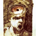 """I Can't Keep My Mouth Shut 1. 1998. Monotype. 9 x 6"""". Darrin Hallowell"""