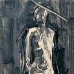 """Untitled (Preliminary Drawing For Figurative Sculpture, Monotype) 1999. 10 x 15"""". Darrin Hallowell"""